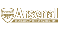 The ADSA Logo with the Arsenal crest and Arsenal disabled Supporters Association in white and gold.