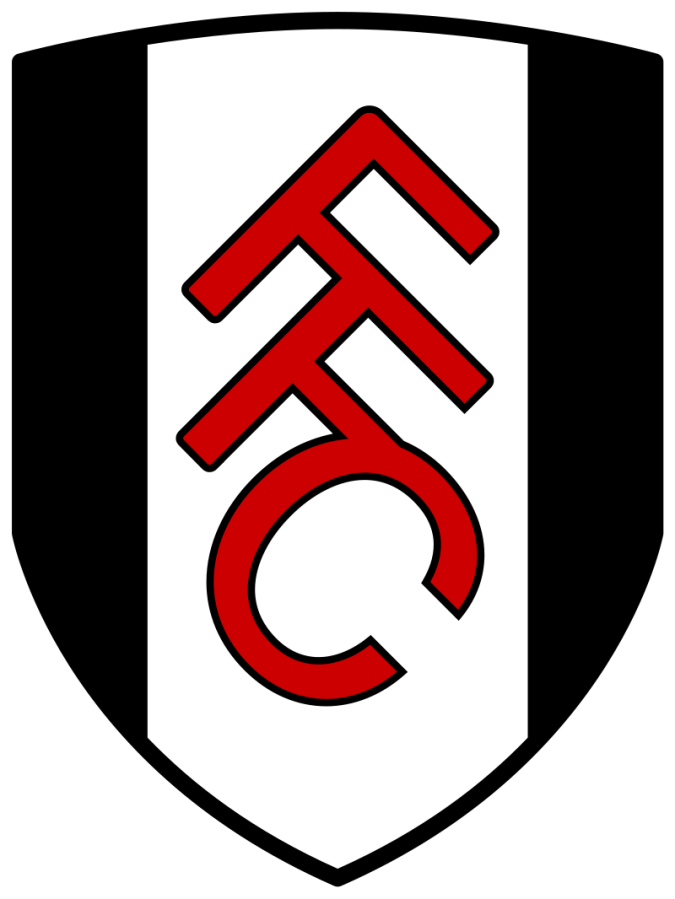 The logo for Fulham Football Club is a black and white shield with FFC in red.